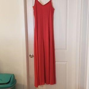 Coral Flowy Maxi Dress